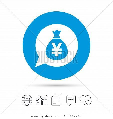 Money bag sign icon. Yen JPY currency speech bubble symbol. Copy files, chat speech bubble and chart web icons. Vector