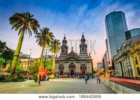 SANTIAGO DE CHILE CHILE - 15 APRIL 2017: Plaza de Armas main square of Chile capital city Santiago.