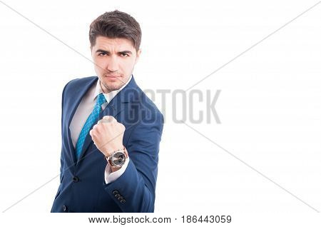 Aggressive Lawyer Threatening With Fist Up