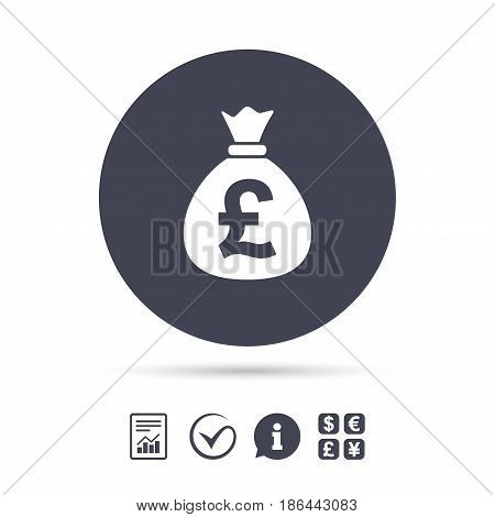 Money bag sign icon. Pound GBP currency symbol. Report document, information and check tick icons. Currency exchange. Vector