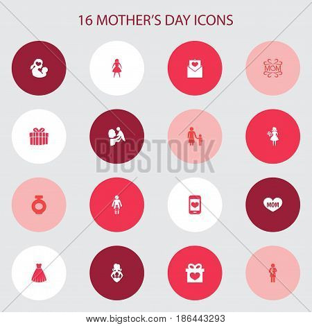 Mothers Day Icon Design Concept. Set Of 16 Such Elements As Mam, Gift And Missus. Beautiful Symbols For Smartphone, Mam And Gown.