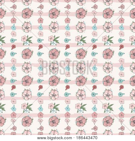 Vector seamless pattern. Exotic pink flowers on a background with stripes. Floral wallpaper. Hand drawn fashion illustration.