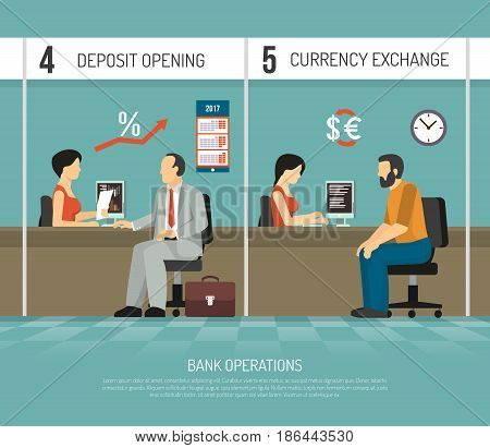 Bank office clerks performing operations of deposit opening and currency exchange flat vector illustration