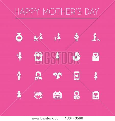 Mothers Day Icon Design Concept. Set Of 20 Such Elements As Hands, Woman, Queen. Beautiful Symbols For Playing, Bouquet And Newborn.