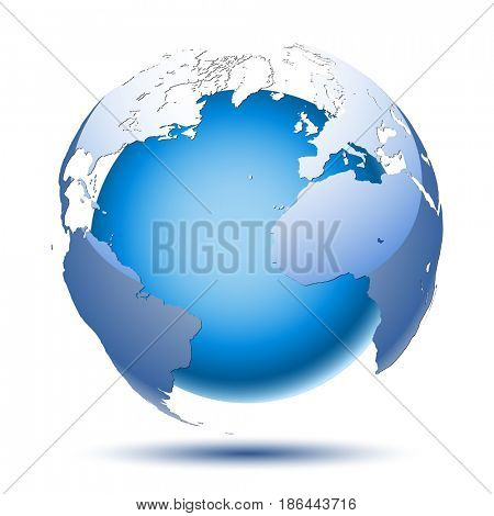 Planet Earth on a white background. Abstract Icon. Illustration