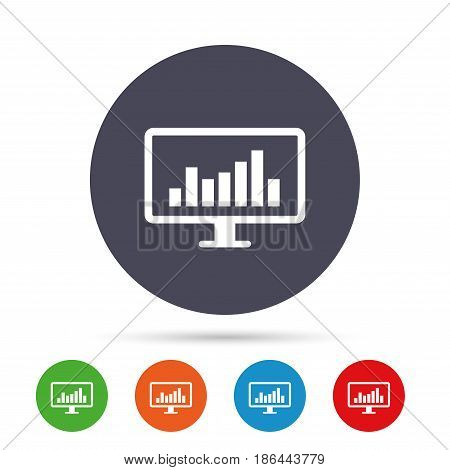 Computer monitor sign icon. Market monitoring. Round colourful buttons with flat icons. Vector