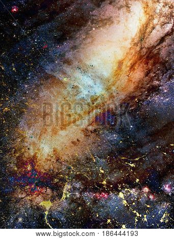 Cosmic Space And Stars, Color Cosmic Abstract Background. Crackle Effect.