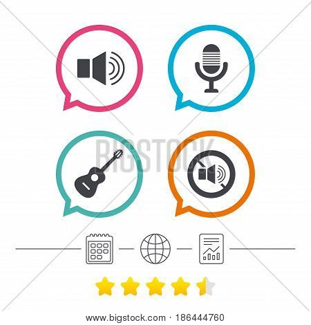 Musical elements icons. Microphone and Sound speaker symbols. No Sound and acoustic guitar signs. Calendar, internet globe and report linear icons. Star vote ranking. Vector