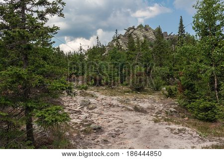 Paths Between Forests And Mountains Of The Southern Urals. Summer In The Mountains. View From The Mo
