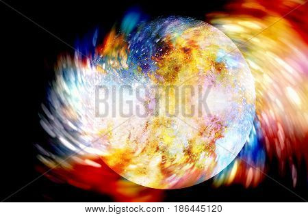 Abstract Background With Cosmic Energy Swirling Effect, Colorful Dynamic Movement.