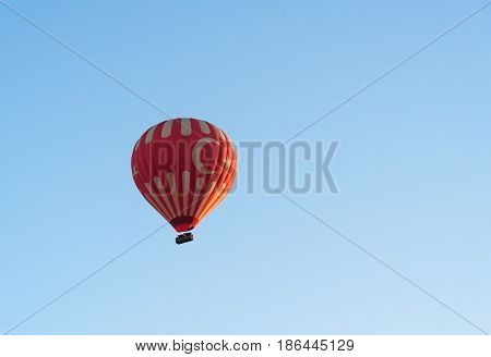 Hot Air Balloon Flying Over Valley. Cappadocia. Turkey