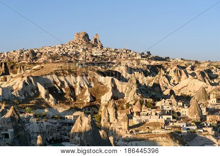Top View Of Goreme Town In The Morning. Cappadocia. Turkey