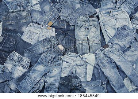 Jeans background, blue jeans clothing textile texture