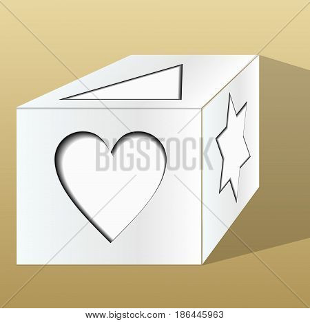 Old paper gift box decorated with paper cut motifs in perspective on beige background with shadow, isolated object drawing vector EPS 10