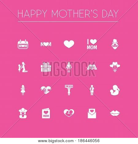 Mothers Day Icon Design Concept. Set Of 20 Such Elements As Gift, Hands, Letter. Beautiful Symbols For Hat, Day And Woman.