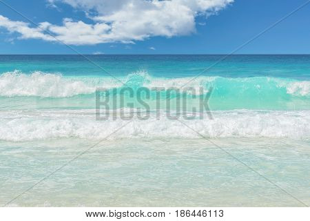 Tropical sea in Miami beach.  Exotic beach nature and clouds on horizon.