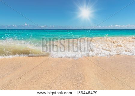 Sunrise at tropical beach. Vacation holidays background wallpaper