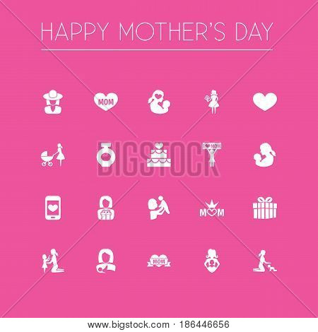 Mothers Day Icon Design Concept. Set Of 20 Such Elements As Protect, Playing And Fragrance. Beautiful Symbols For Hat, Flower And Kid.