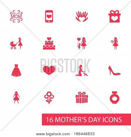 Mothers Day Icon Design Concept. Set Of 16 Such Elements As Child, Woman And Gift. Beautiful Symbols For Mam, Hand And Cake.