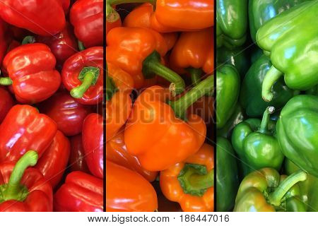 Image of three segments of top view red, yellow and green bell peppers in a pile