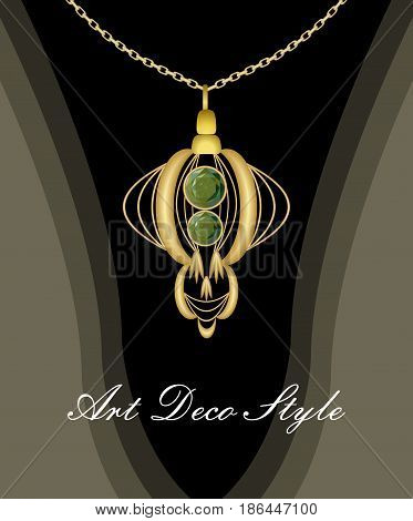 Luxurious art deco pendant with green gems emerald on gold chain, fashion in victorian style, antique golden jewel, vector EPS 10
