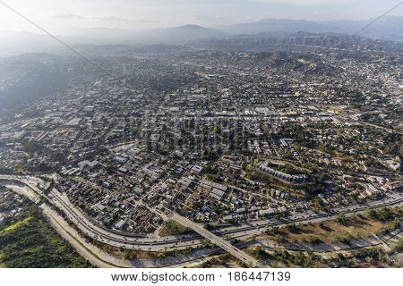 Aerial view of the Highland Park and the Pasadena 110 freeway in northeast Los Angeles, California.