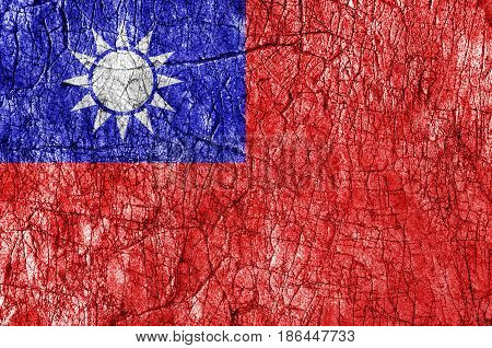 Grudge stone painted Taiwan flag close up
