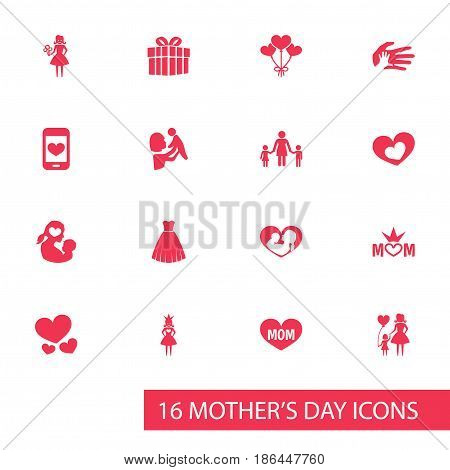 Mothers Day Icon Design Concept. Set Of 16 Such Elements As Woman, Gift And Text. Beautiful Symbols For Heart, Dress And Child.