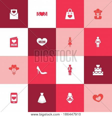 Mothers Day Icon Design Concept. Set Of 16 Such Elements As Hat, Text And Cellphone. Beautiful Symbols For Hat, Infant And Gown.