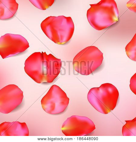 Red rose petals on pink background. Realistic vector illustration