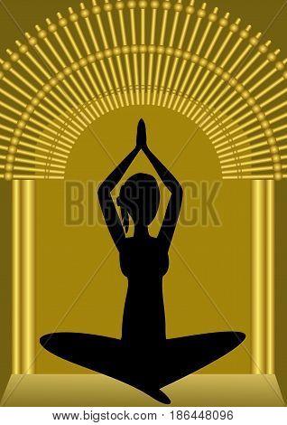 Yoga training, woman silhouette in golden gate, spiritual symbol, asana vector EPS 10