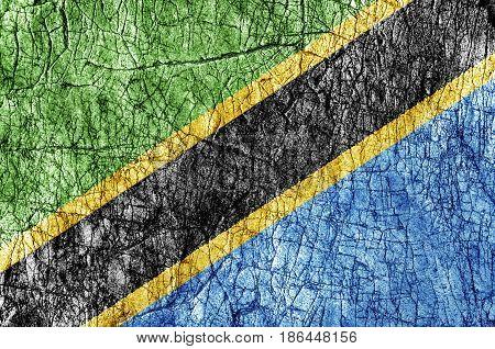Grudge stone painted Tanzania flag close up
