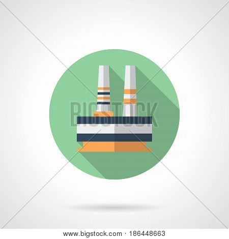 Abstract symbol of steelworks plant or ironworks. Industrial building and architecture. Round flat design vector icon.