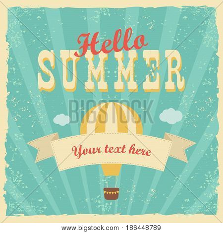 Say Hello To Summer vector illustration, background. Fun quote hipster design logo or label. Hand lettering inspirational typography poster, banner