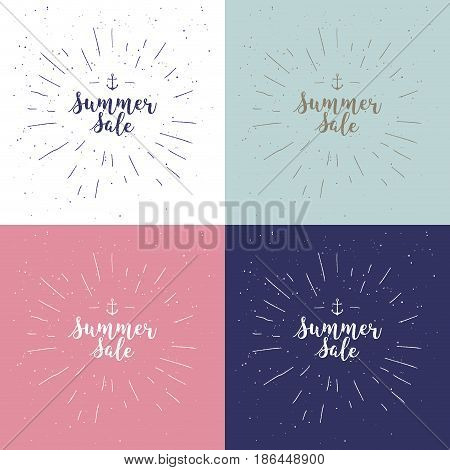 Summer sale set. Drawn lettering. Vector summer sale typography. Calligraphic phrase on white background with sunburst. Usable for cards and posters, sale billboards and signs. Sale banner design