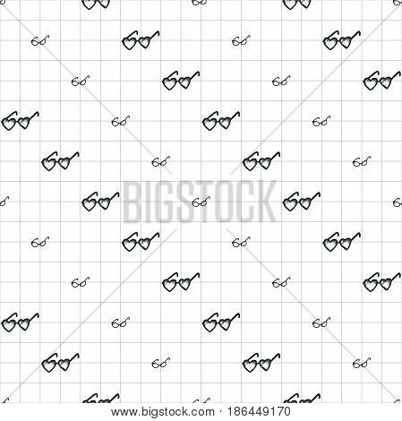 Different sunglasses types seamless pattern, hand drawn doodle style vector. Black and white sketch illustration on notebook page.