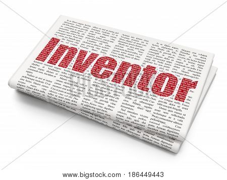 Science concept: Pixelated red text Inventor on Newspaper background, 3D rendering