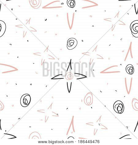 Hand drawn pattern with stars. Doodle design Little princess.