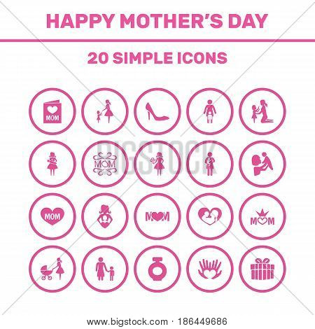 Mothers Day Icon Design Concept. Set Of 20 Such Elements As Newborn Baby, Kid And Woman. Beautiful Symbols For Text, Playing And Bottle.