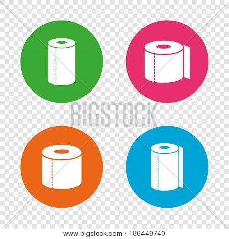 Toilet paper icons. Kitchen roll towel symbols. WC paper signs. Round buttons on transparent background. Vector