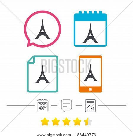 Eiffel tower icon. Paris symbol. Calendar, chat speech bubble and report linear icons. Star vote ranking. Vector