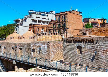 Tbilisi, Georgia - April 24, 2017: Sulphur baths, traditional houses in Old Town of Tbilisi