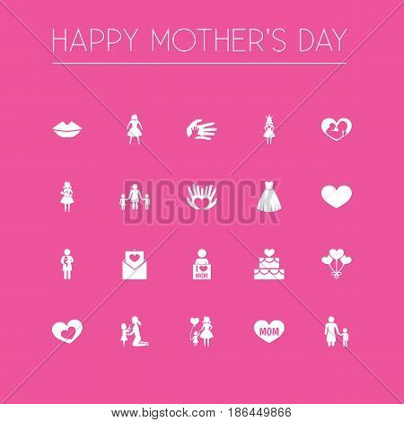 Mothers Day Icon Design Concept. Set Of 20 Such Elements As Daughter, Infant And Helping. Beautiful Symbols For Evening, Decoration And Heart.