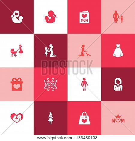 Mothers Day Icon Design Concept. Set Of 16 Such Elements As Evening Gown, Mam And Baby. Beautiful Symbols For Stroller, Mother And Dress.