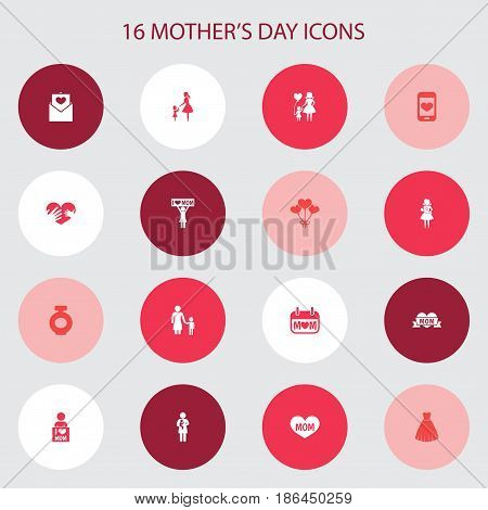 Mothers Day Icon Design Concept. Set Of 16 Such Elements As Cellphone, Lady And Decoration. Beautiful Symbols For Love, Screen And Heart.