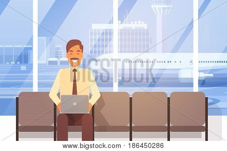 Man Sitting In Airport Hall Using Laptop Computer Waiting For Departure Terminal Interior Flat Vector Illustration
