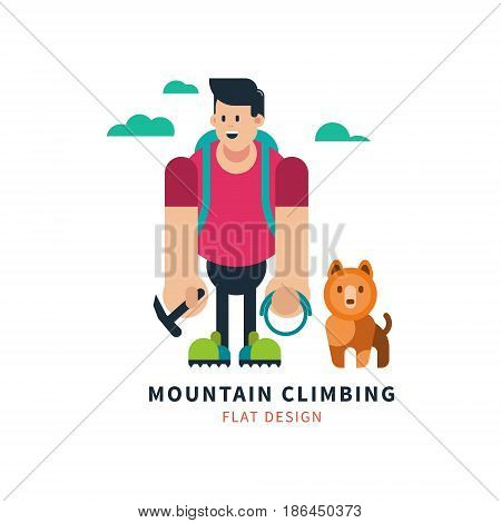 Young climber with  dog in  cartoon style. Vector illustration on isolated background.