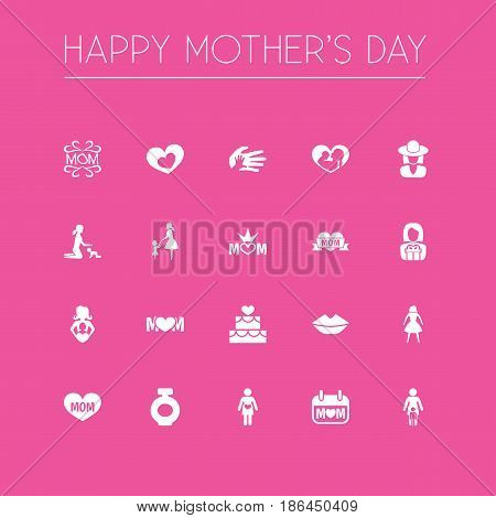 Mothers Day Icon Design Concept. Set Of 20 Such Elements As Mom, Lady And Pregnancy. Beautiful Symbols For Soul, Pastry And Holiday.