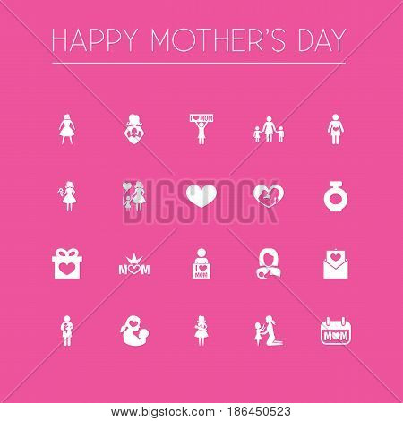 Mothers Day Icon Design Concept. Set Of 20 Such Elements As Holiday, Daughter And Soul. Beautiful Symbols For Pregnancy, Female And Envelope.