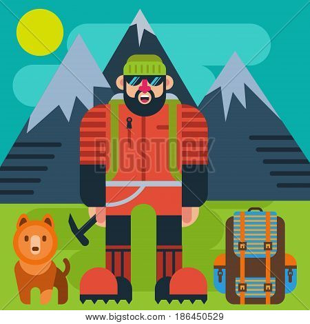 Climber  with a dog and a backpack on a background of mountains.Vector illustration of mountain climbing, mountaineering, climbing.